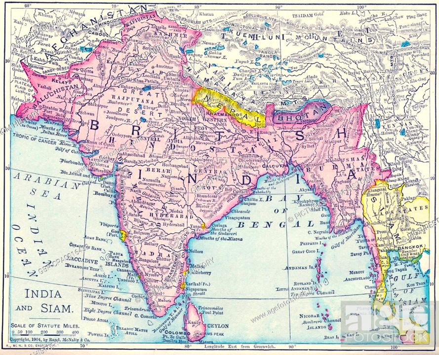 India: Map of the British Raj, including present-day India, Pakistan