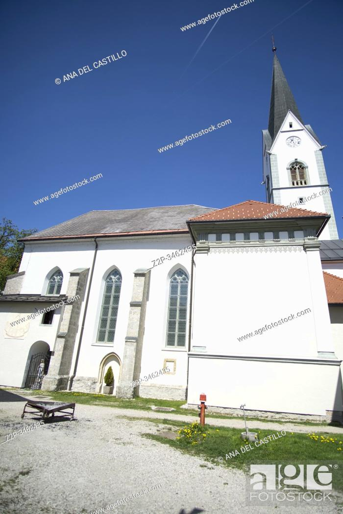 Stock Photo: Radovljica Slovenia on April 20, 2019: The parish church.