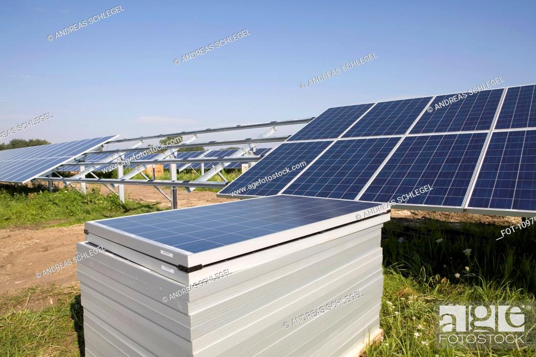 Stock Photo: Solar panels in a field.