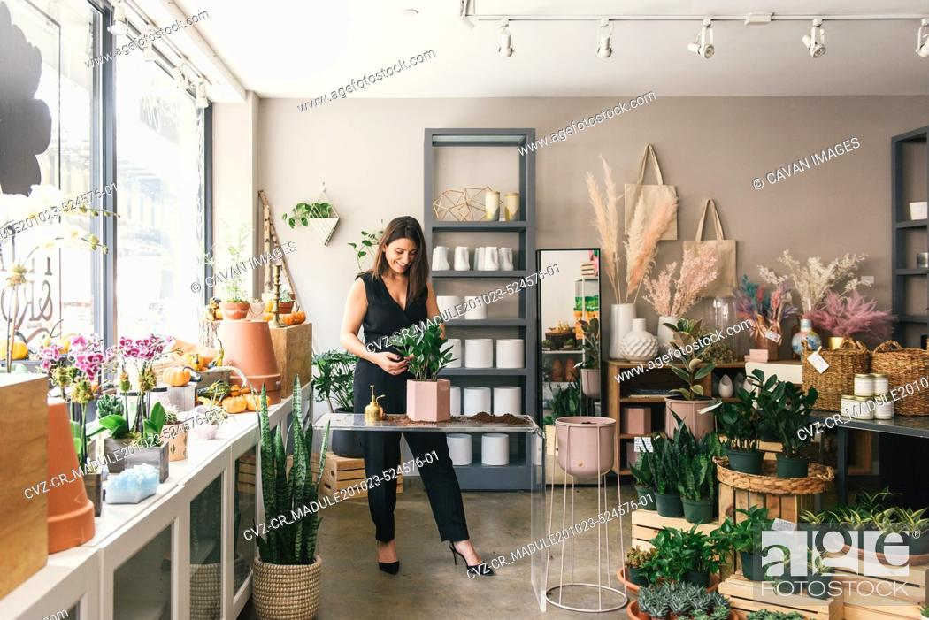 Stock Photo: Wide shot of florist putting together potting display in shop.