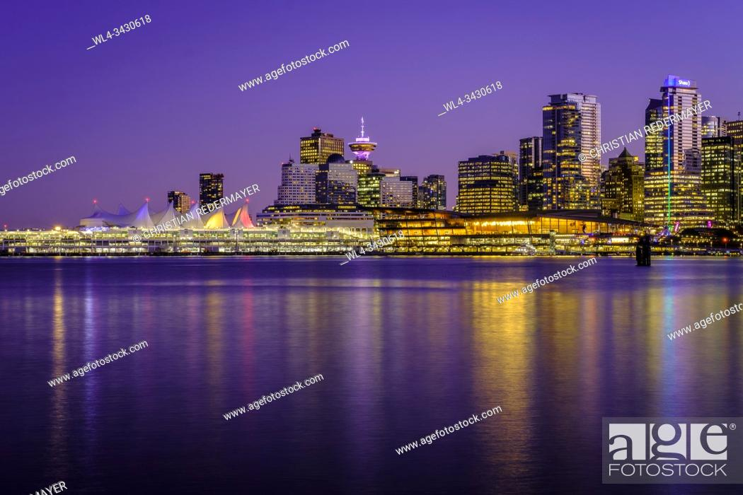 Stock Photo: The Convention Center in Vancouver, British Columbia, Canada during the blue hour.