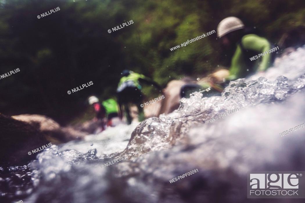 Photo de stock: Germany, Bavaria, Allgaeu, canyoning in Ostertal.