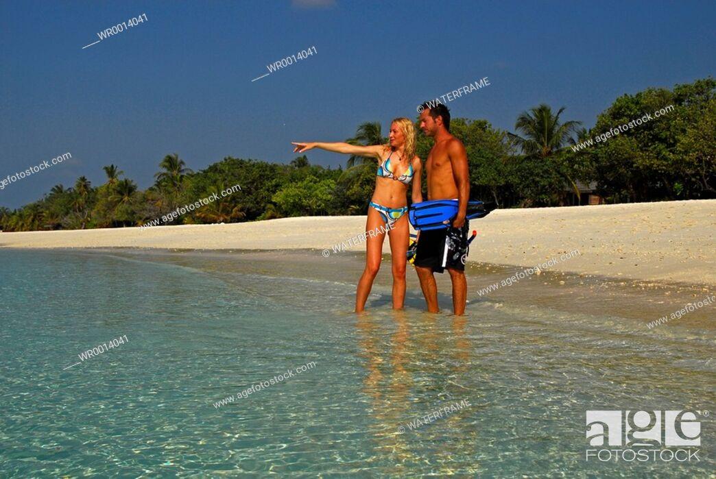 Stock Photo: Snorkeling at Maldives, Indian Ocean, Maldives.