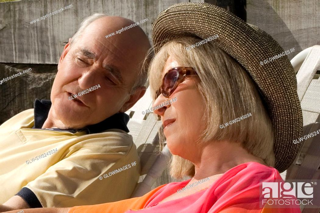 Stock Photo: Close-up of a senior couple sitting together.