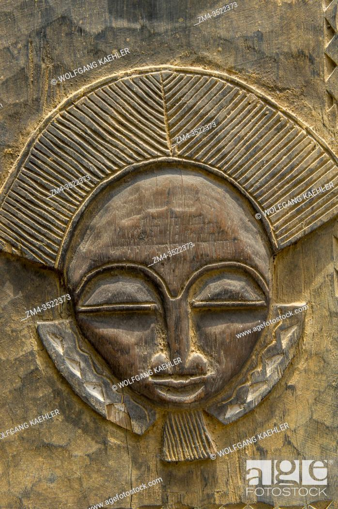 Stock Photo: Detail of door from Ivory Coast on display in the International Museum of Gulf of Guinea, in Lome, Togo.