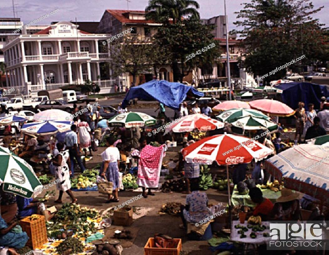 Stock Photo: Group of people in a market, Pointe-A-Pitre, Guadeloupe.