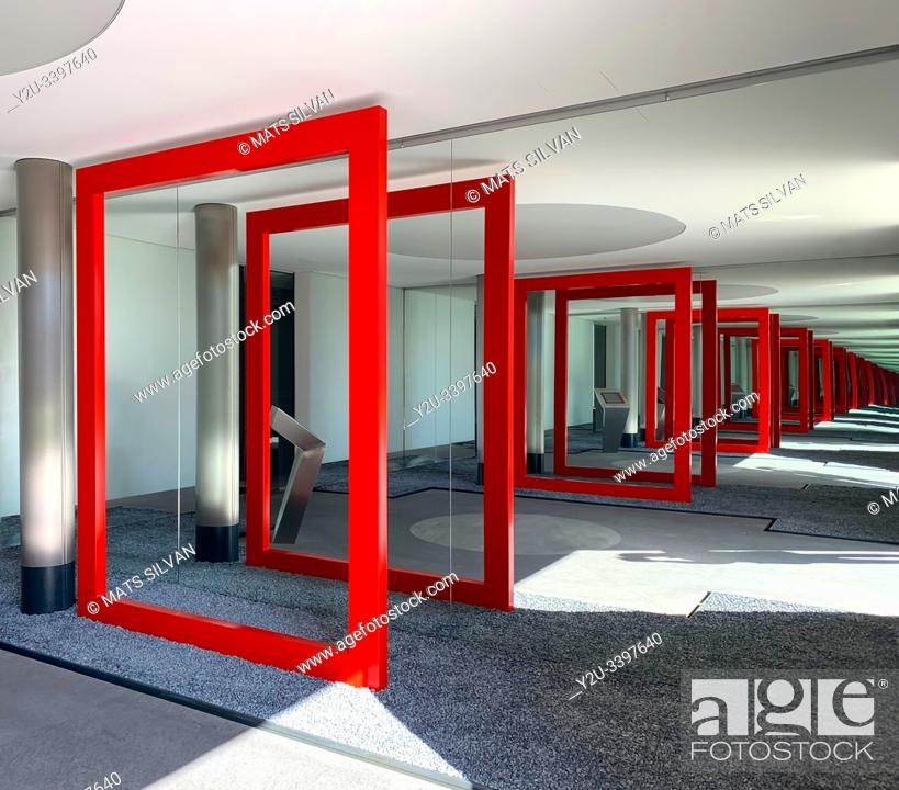 Stock Photo: Modern Building with Red Frame to Infinity in Lugano, Switzerland.