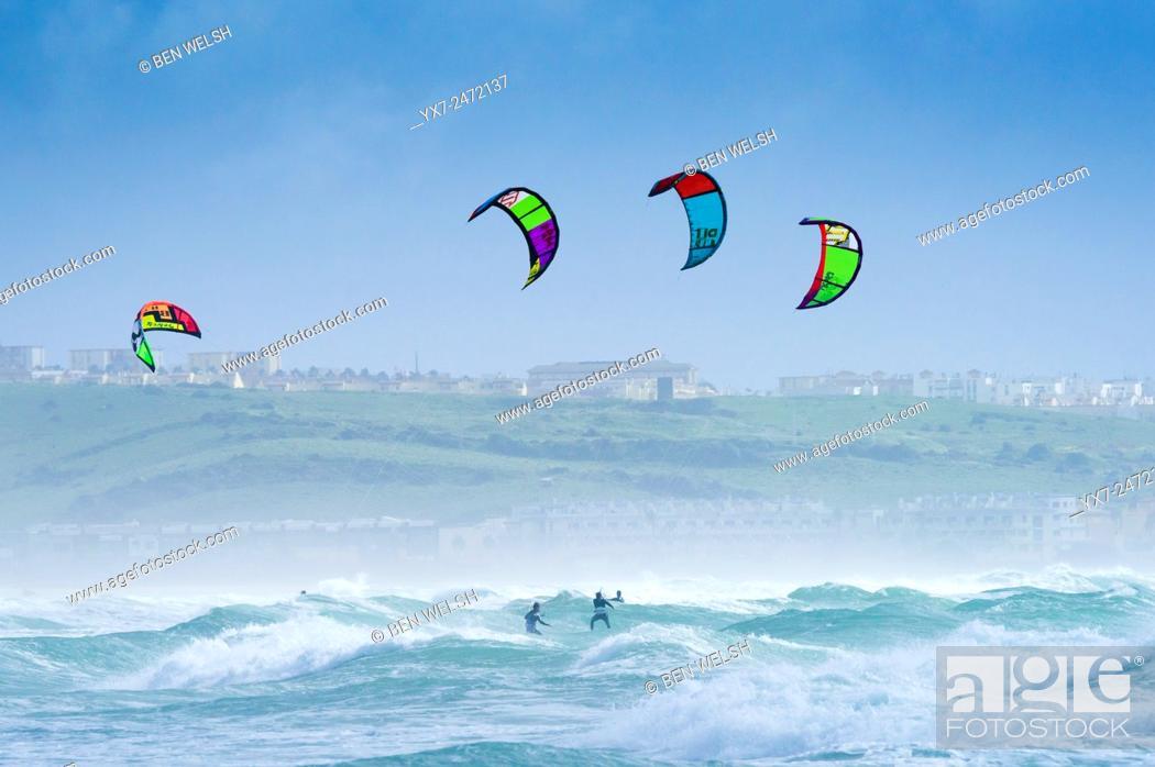 Stock Photo: Kitesurfing in Tarifa. Costa de la Luz, Cadiz, Andalusia, Spain.