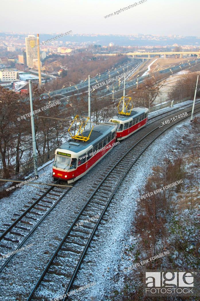 Stock Photo: Ohrada to Palmovka tram bridge viaduct 1990 Prague Czech Republic Europe.