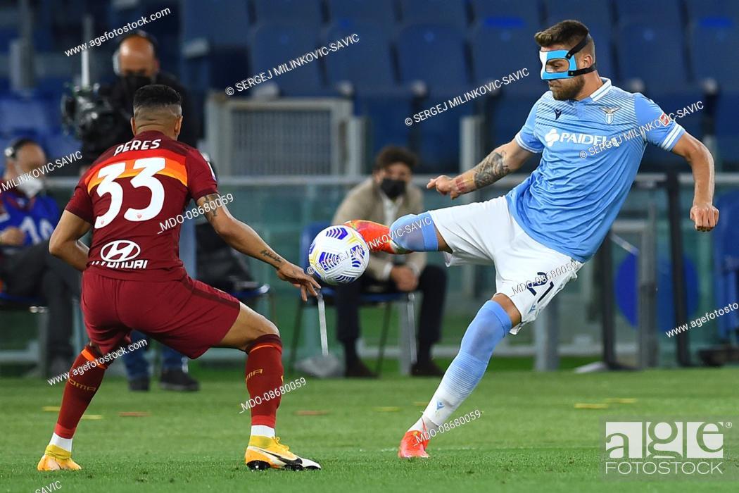 Stock Photo: Lazio footballer Sergej Milinkovic-Savic during the match Roma-Lazio at Olimpic Stadium. Rome (Italy), May 15th, 2021.