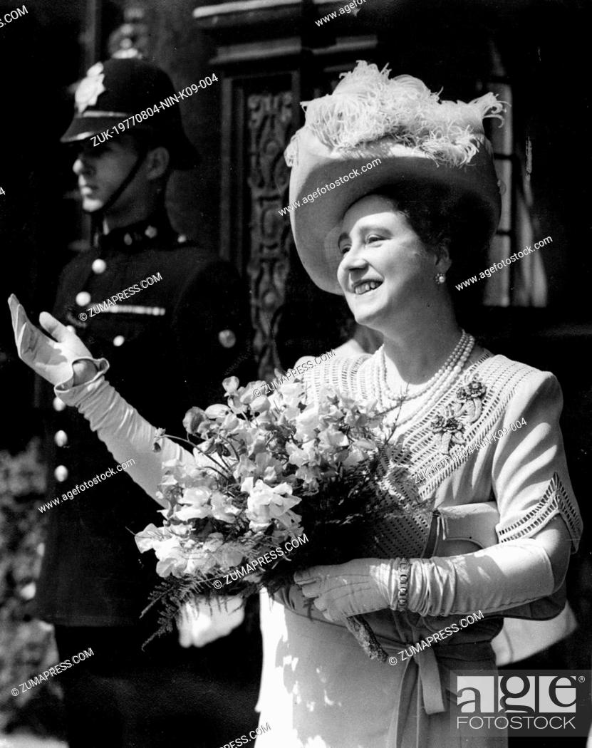 Stock Photo: Jun 03, 1947; Cambridge, England, UK; The QUEEN MOTHER, the creator of the modern British monarchy, brought the royal household - previously a stuffy.