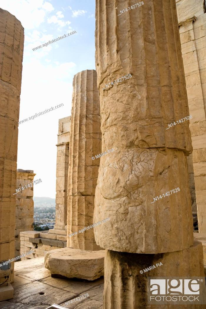 Stock Photo: Entrance to the Acropolis, Columns detail, Athens, Greece.