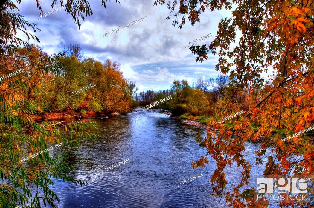 Stock Photo: USA, Idaho, Boise, Boise River in Fall.