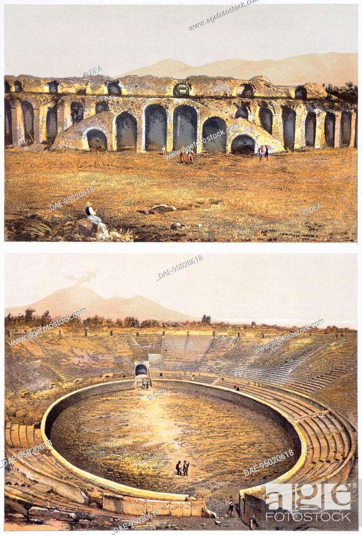 Stock Photo: Reproduction of some views of an amphitheatre, from The Houses and Monuments of Pompeii, by Fausto and Felice Niccolini, Volume III, Amphitheatre, Plate II.