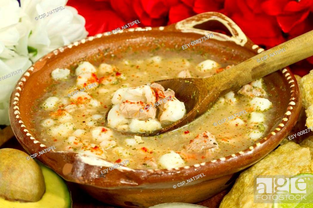 Stock Photo: Mexican Pozole Dish.