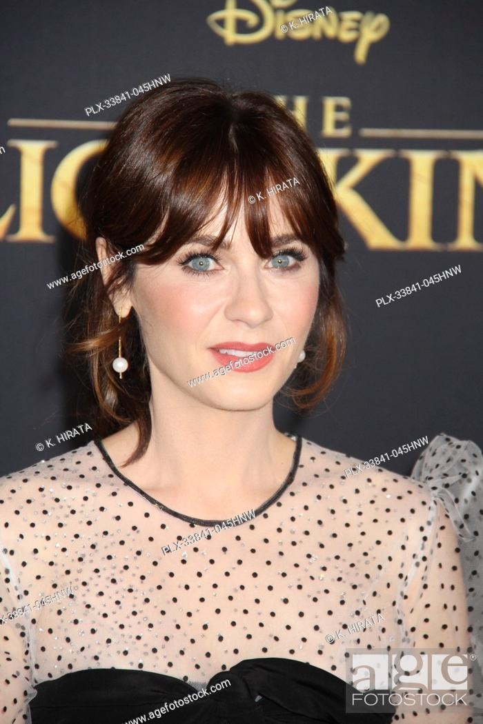 """Stock Photo: Zooey Deschanel 07/09/2019 """"""""The Lion King"""""""" Premiere held at the Dolby Theatre in Hollywood, CA. Photo by: K. Hirata / HNW/ PictureLux."""
