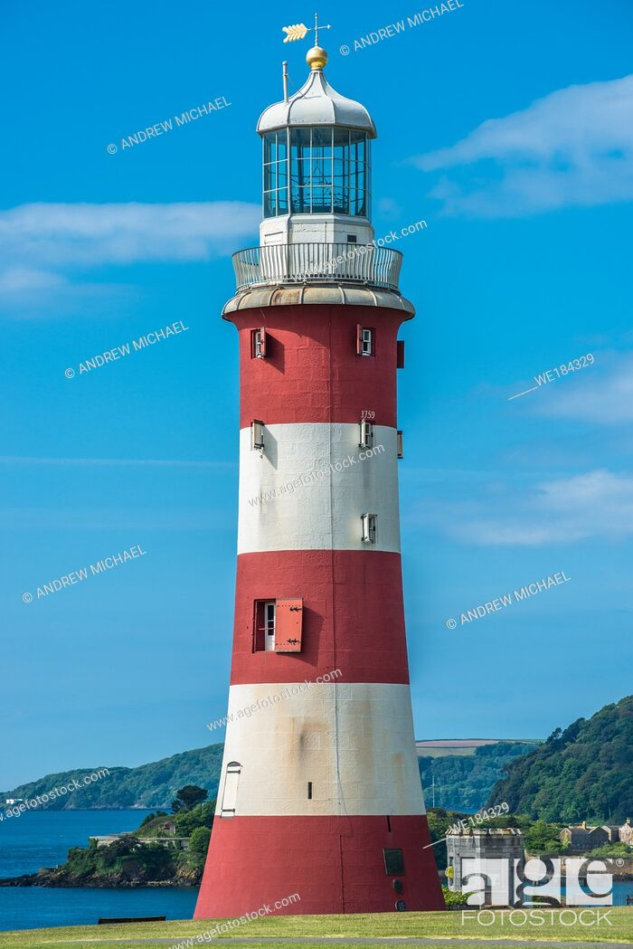 Stock Photo: Smeatons Tower Lighthouse on the seafront at Plymouth Hoe on the south coast of Devon, England. UK.
