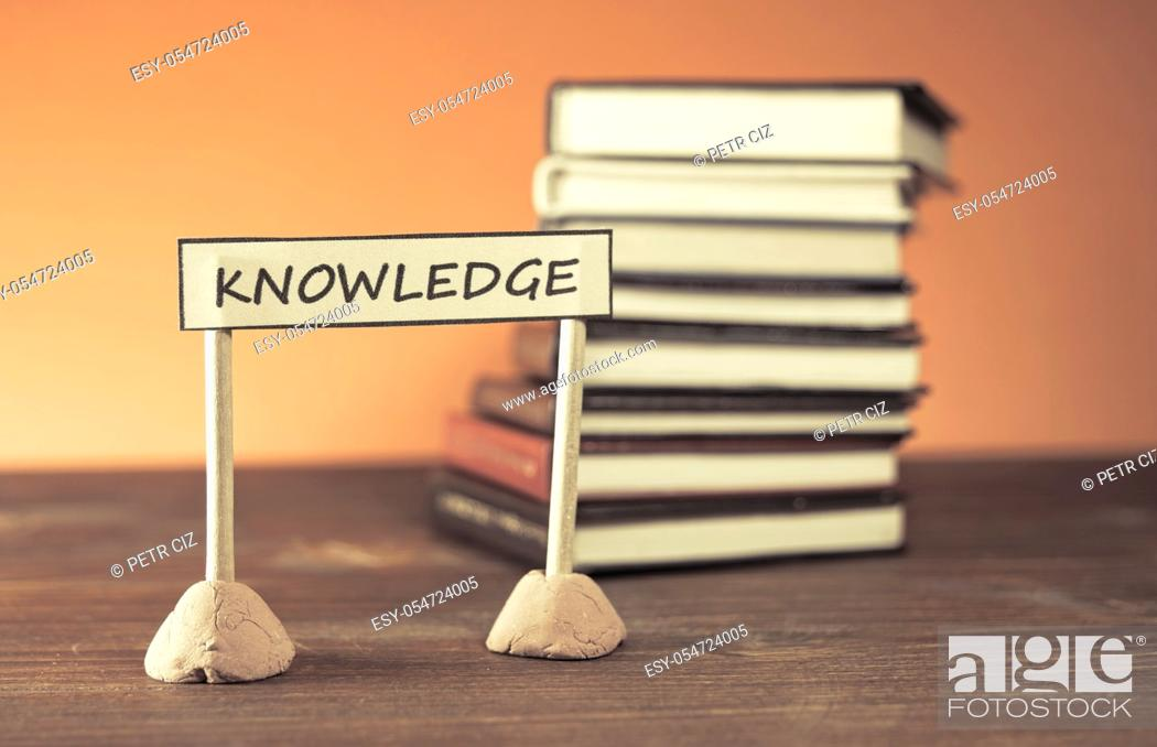 Stock Photo: Stack of books as a new knowledge.