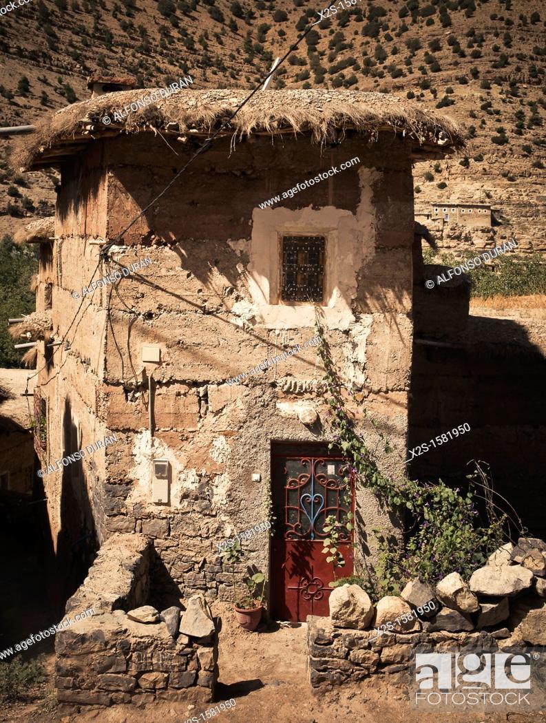 Stock Photo: adobe house in the High Atlas, Azilal, Morocco.