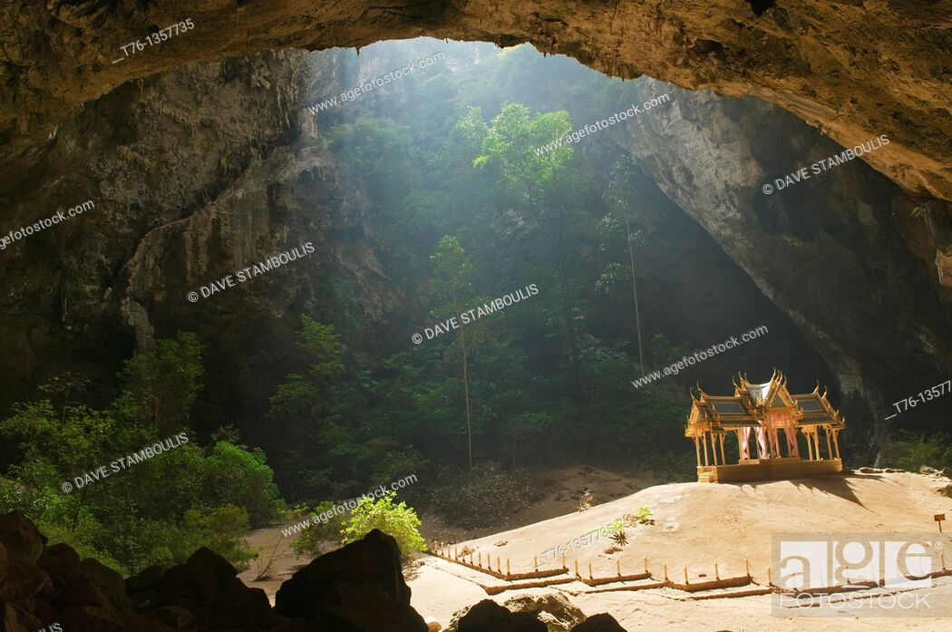 Stock Photo: the surreal Phraya Nakhon Cave and throne pavilion in Khao Sam Roi Yot National Park in Thailand.
