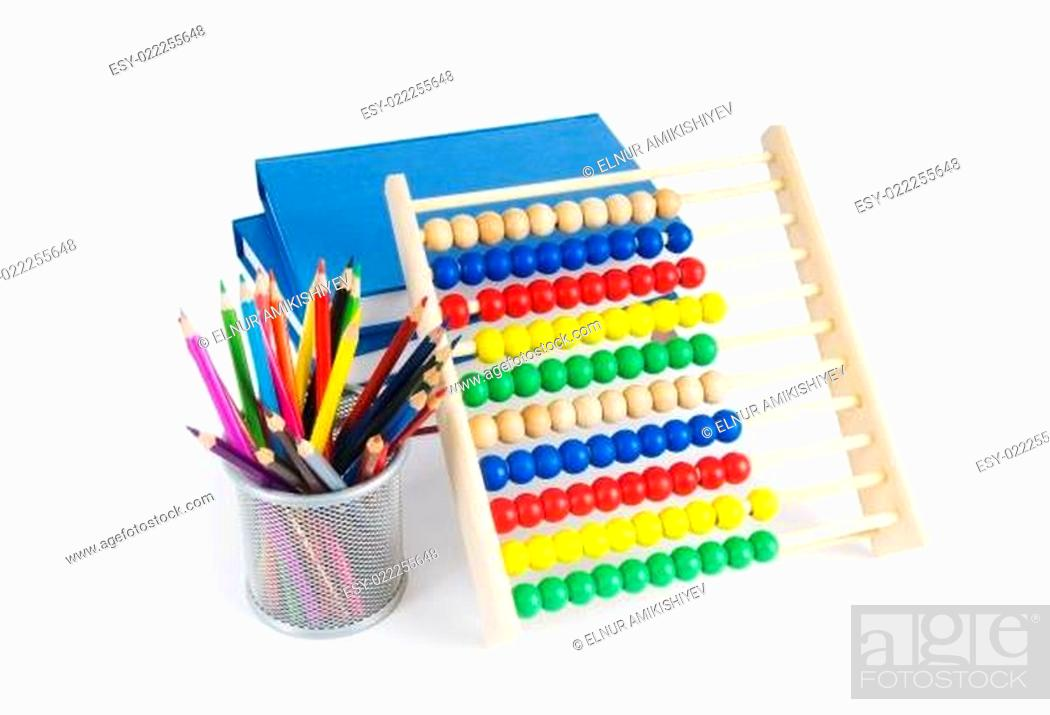 Imagen: Education concept with pencils, books and abacus.