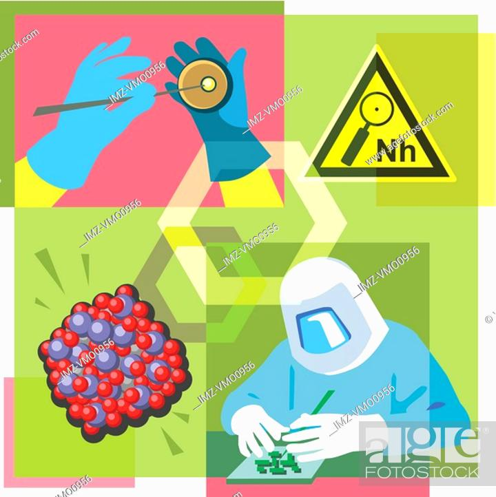 Stock Photo: Montage illustration about nanotechnology containing a nanohazard symbol, molecules and a researcher.