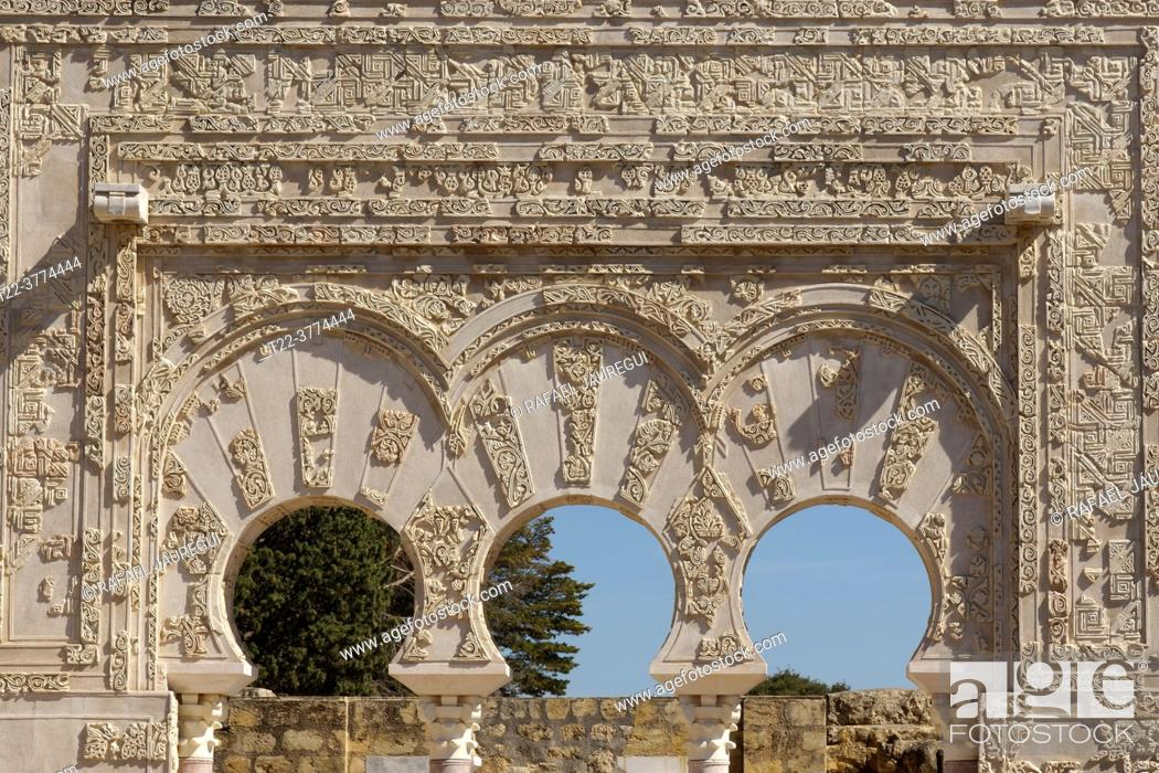 Stock Photo: Córdoba (Spain). Close-up of the Arches of the Prime Minister's Gate in the archaeological site of Medina Azahara.
