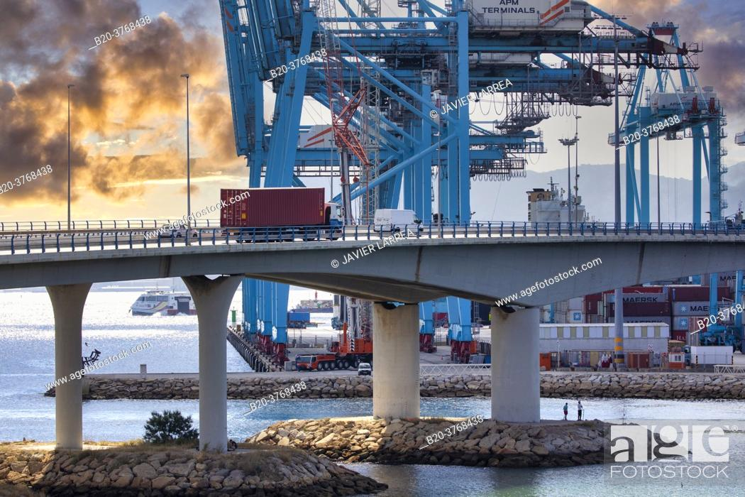 Stock Photo: Commercial Port of Algeciras, Cádiz, Andalucia, Spain, Europe.