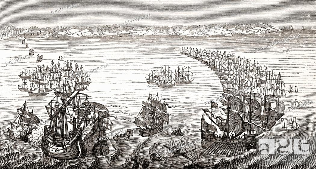 Stock Photo: The Spanish Armada after a 17th century print. From The National and Domestic History of England by William Aubrey published London circa 1890.