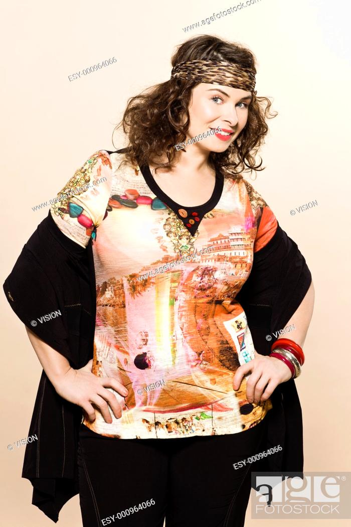 Stock Photo: large build caucasian woman spring summer fashion models clothes clothings on studio isolated plain background.