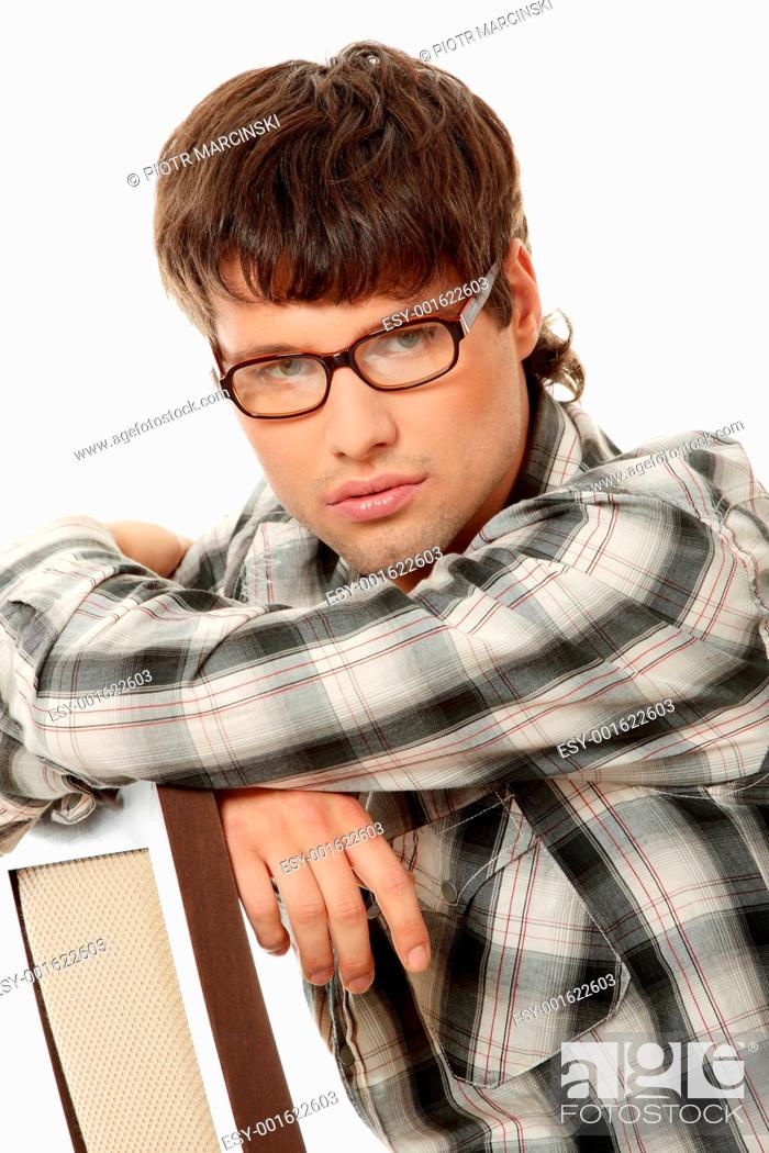 Stock Photo: Close up portrait of handsome man in glasses.
