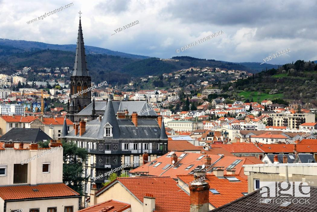 Stock Photo: Panoramic view for Clermont-Ferrand, Eglise Saint Eutrope in background, view from town hall, Clermont-Ferrand, Puy-de-Dôme, Auvergne, Auvergne-Rhône-Alpes.