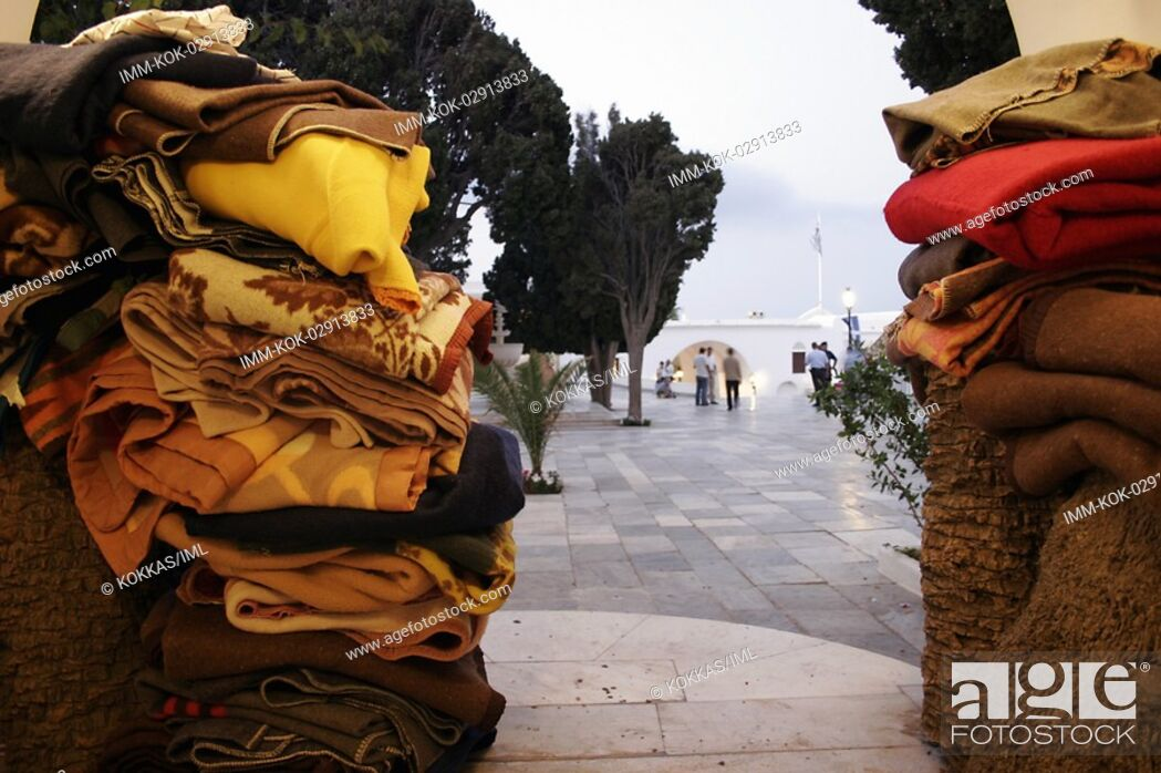Stock Photo: Blankets at the church Tinos, Cyclades, Greece.