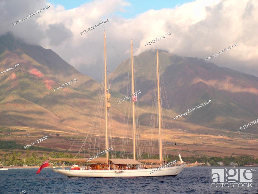 Stock Photo: Lahaina, Maui, HI, Hawaii, West Maui, Auau Channel, schooner, windjammer, West Maui Mountains.