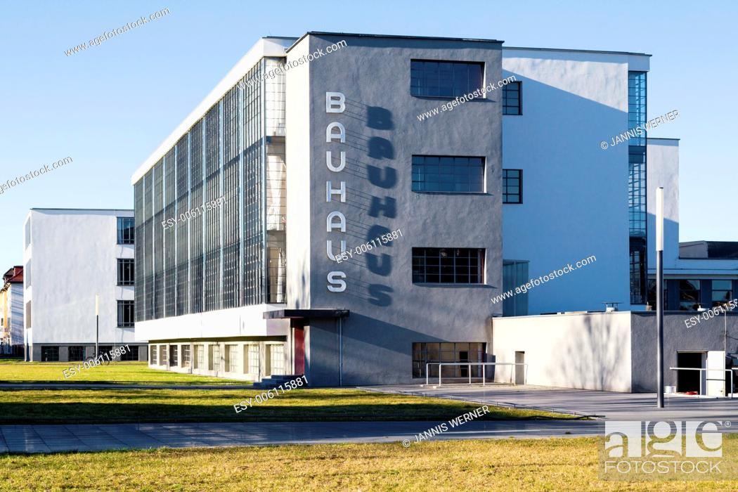Stock Photo: Restored landmark Bauhaus building, former home of the school that founded modernism, in Dessau, Germany.