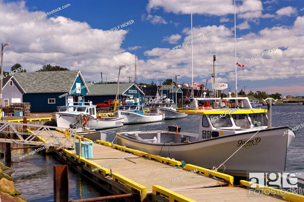 Stock Photo: Fishing boats tied up to the wharf in the town of North Rustico, North Rustico Harbour, Gulf of St Lawrence, Highway 6, Blue Heron Coastal Drive, Queens.