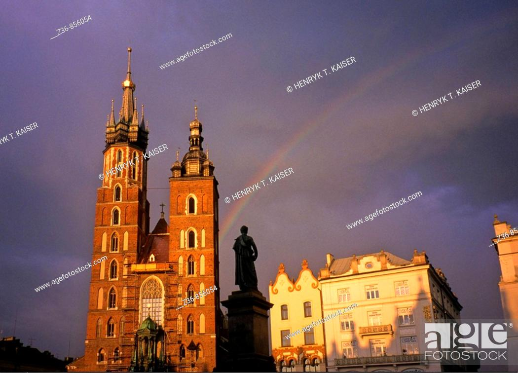 Stock Photo: Raibow over Church of St Mary at Main Market Square, Krakow, Poland.