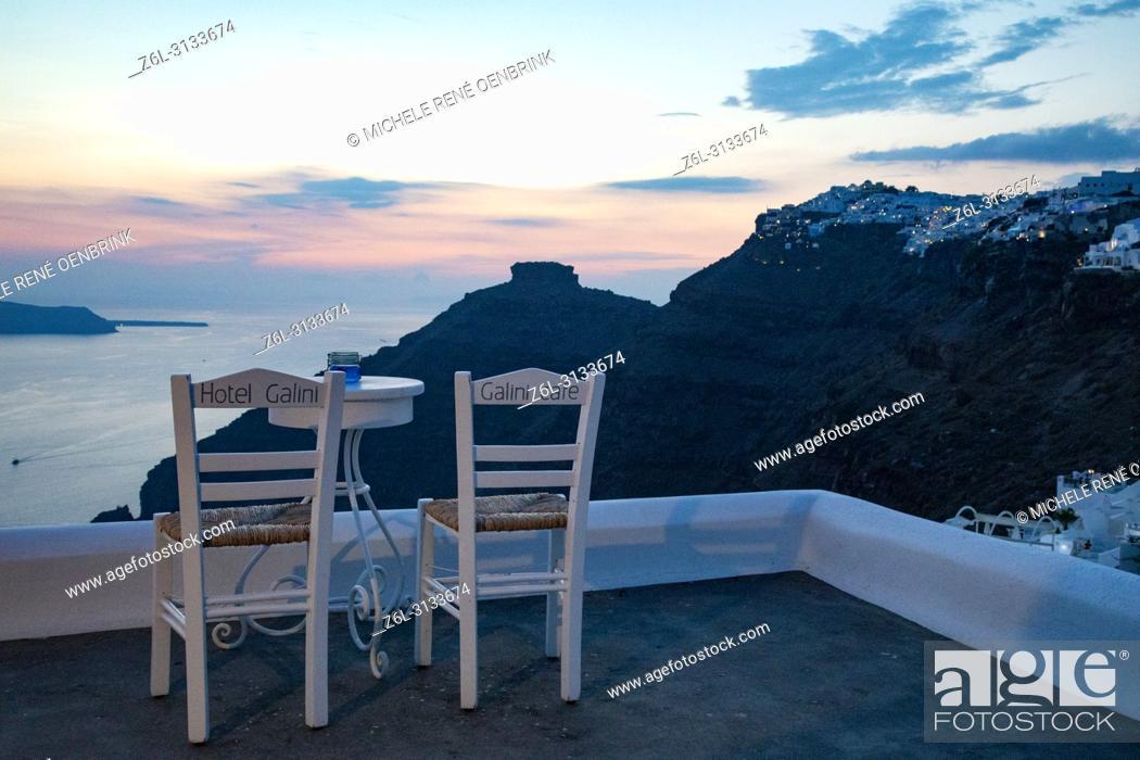Stock Photo: Famous Hotel Gallini Cafe overlook at Santorini Greece.