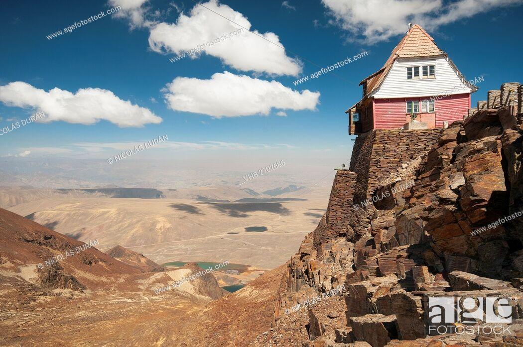 Stock Photo: Old ski resort. Chacaltaya peak. La Paz Departament. Bolivia. Andes. South America.