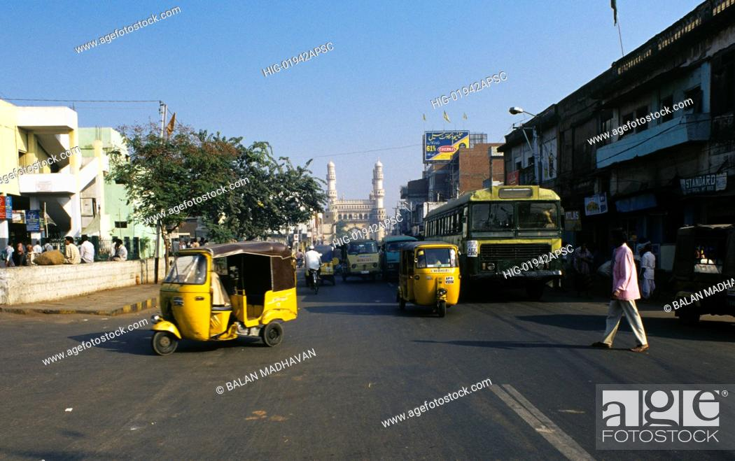 Stock Photo: ROAD NEAR CHARMINAR, ANDHRA PRADESH, INDIA.