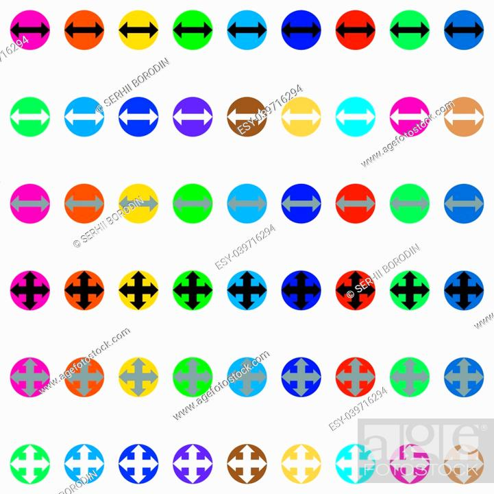 Vector: Arrows in round different color Simple stick.