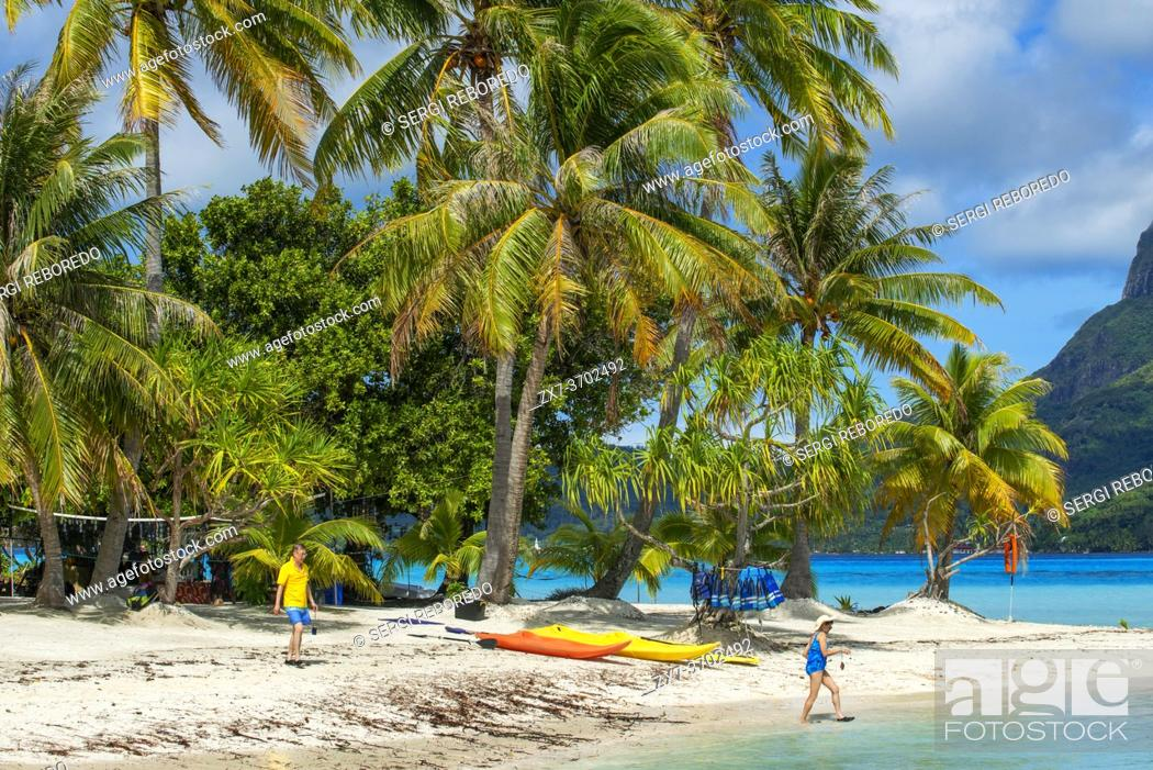 Stock Photo: Beach of motu Tevairoa island, a little islet in the lagoon of Bora Bora, Society Islands, French Polynesia, South Pacific.