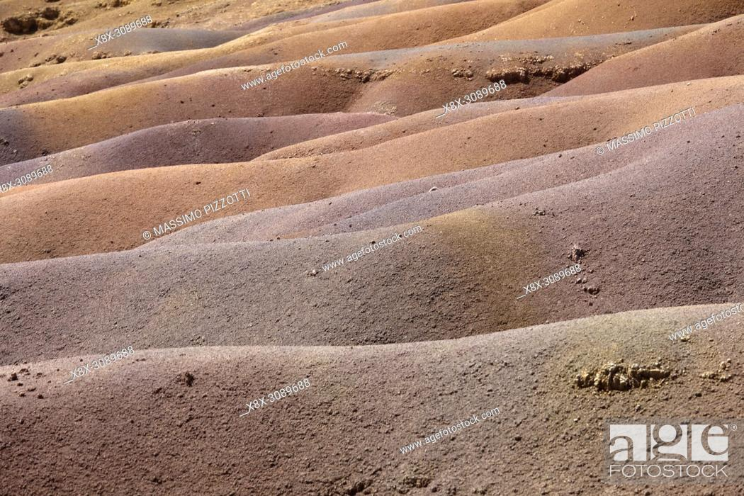 Stock Photo: The geological formation called Seven Coloured Earths in the Chamarel plain, Mauritius.