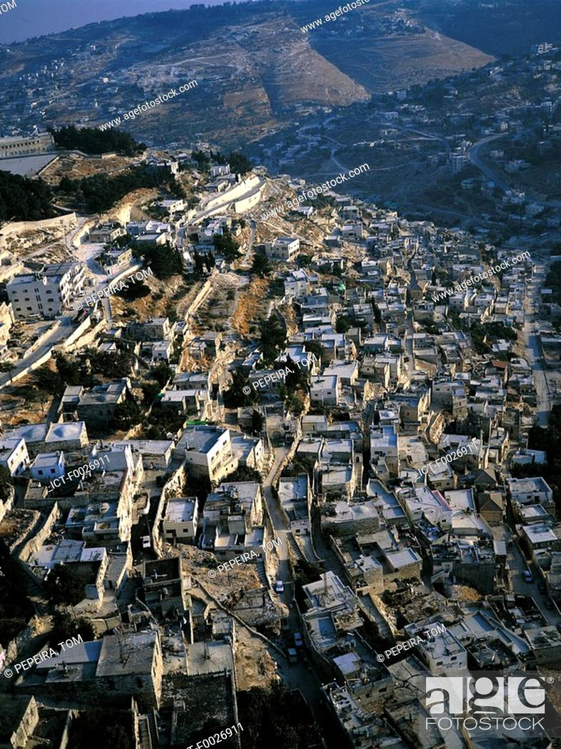Stock Photo: Israel, Jerusalem, aerial view of the Palestinian quarter.