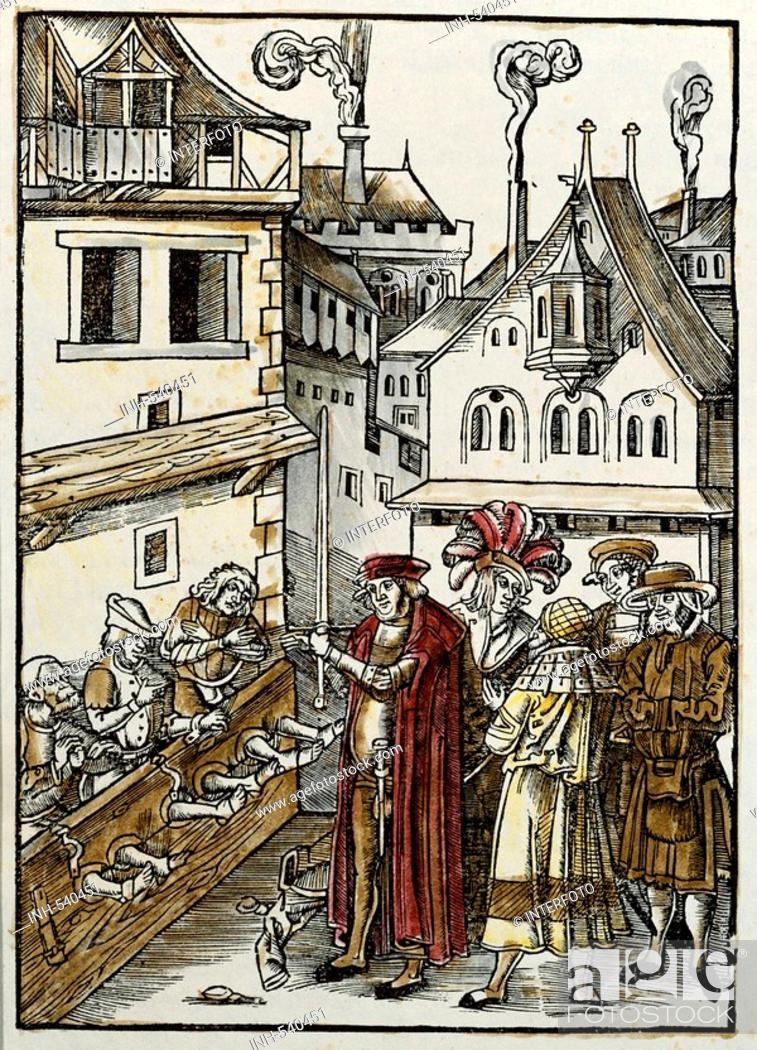 Stock Photo: Tengler, Ulrich, 1447 - 1511, German jurist, works, 'Laienspiegel', 1509, coloured woodcut by Hans Schäufelein, three defendants in the stocks at the town.