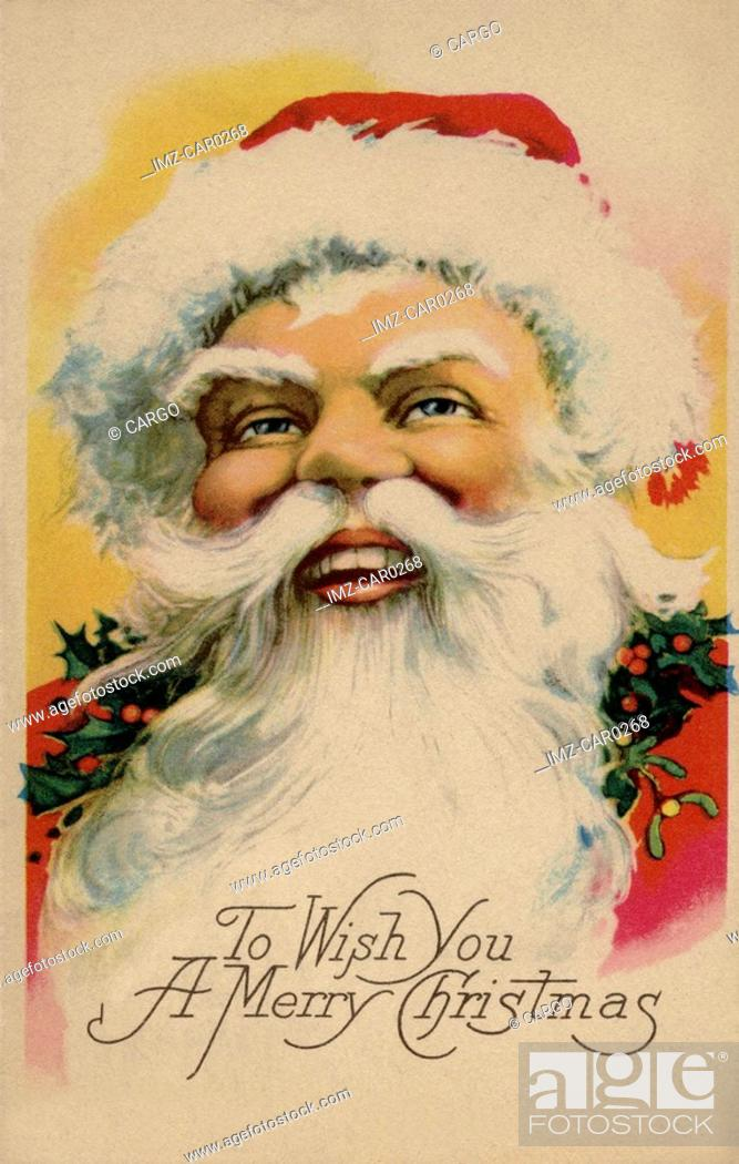 Stock Photo: Vintage Christmas postcard of Santa Claus.