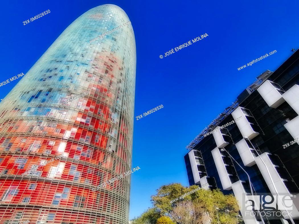 Stock Photo: Barcelona city, Agbar tower, Catalonia, Spain, Europe.