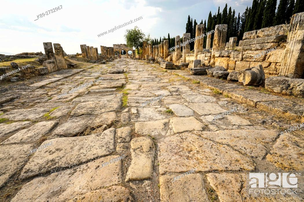 Stock Photo: The Roman Road. Hierapolis. Ancient Greece. Asia Minor. Turkey.