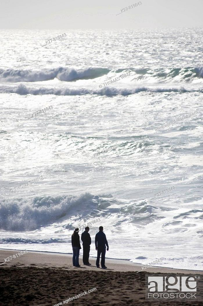 Stock Photo: Three men, Point Reyes National Seashore. USA, California.