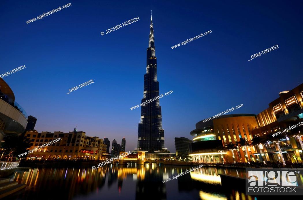 Stock Photo: Downtown Dubai with Burj Khalifa and Dubai Mall, United Arab Emirates.